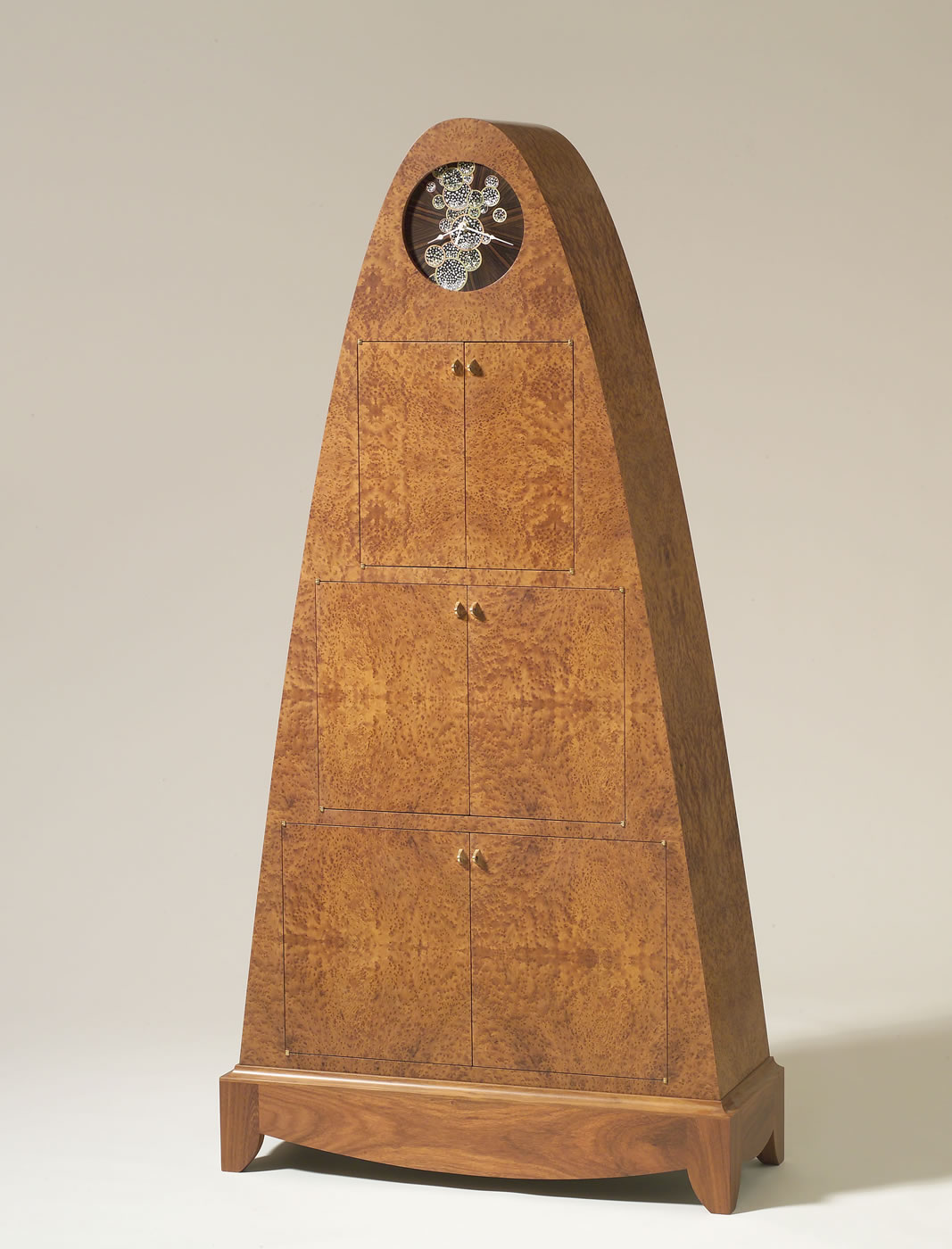 "Cabinet Carcase- Thuya Burl Clock Face- Ebony, Mother-of Pearl, Brass, Copper, Abalone 61"" X 26"" X 15"""