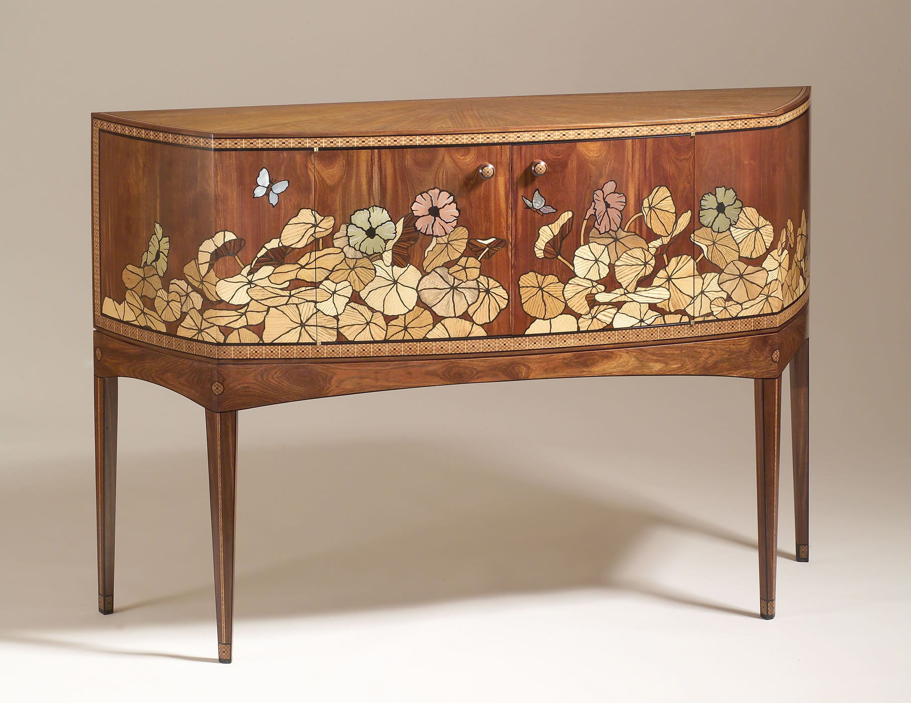 "Granadillo And Marquetry W/ Brass, Copper, And Shell 61"" X 18"" X 42"" H"