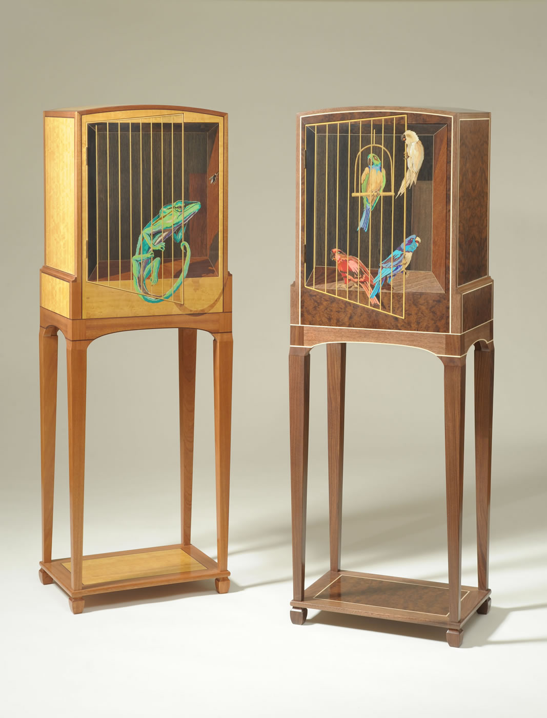 "Parrots: Walnut, Walnut Burl, Holly Marquetry: Wood, Brass, Mother-of-pearl, And Stone  58"" H X 19"" W X 13 ½"" D Chameleon: Sapele, Satinwood, Katalox Marquetry: Wood, Stone, And Shell"